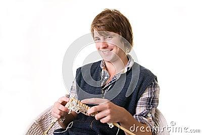 Man knitting art craft