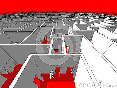 Man in a labyrinth