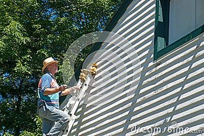 Man Ladder Surveying Work Done