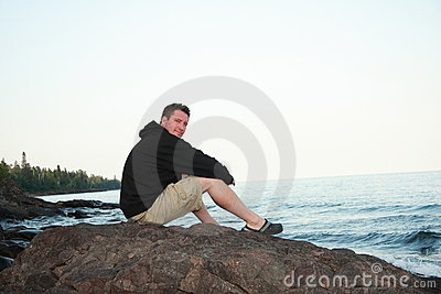 Man on Lake Superior Shore
