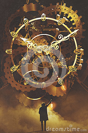 Man with a lantern standing in front of the big golden clockwork Cartoon Illustration