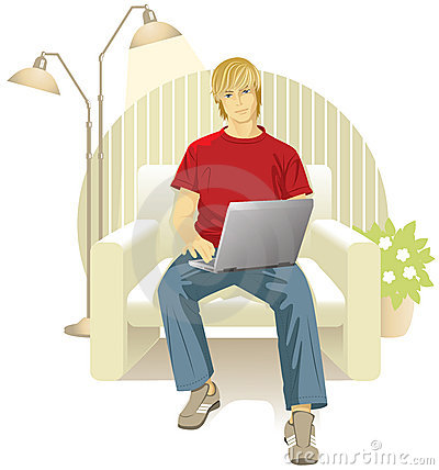 Man with laptop in chair