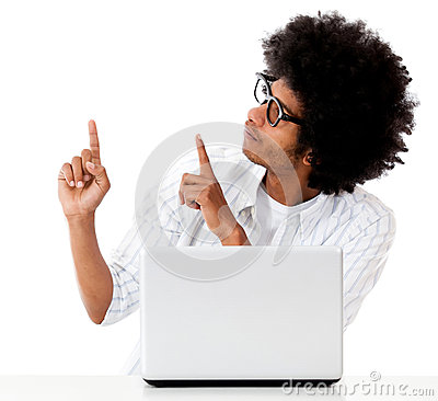 Man with a laptop pointing
