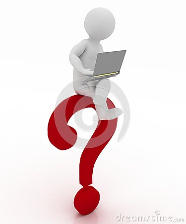 Man with a laptop is sitting on question mark