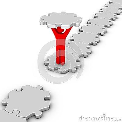 Man with last jigsaw piece