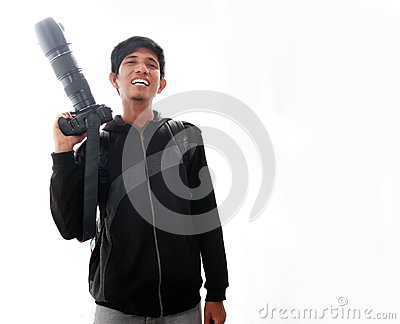 Man laughing with Camera