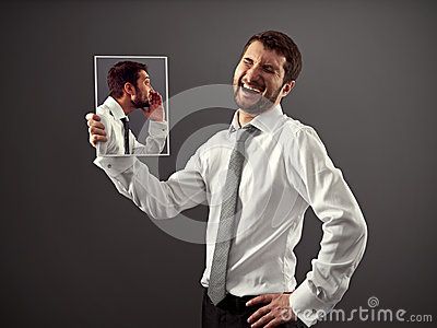 Man laughing at a joke