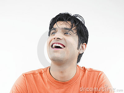 Man laughing to a joke