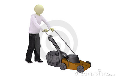 Man with lawn mower