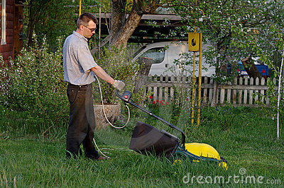 Man with the lawn mower