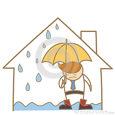 Man In The Leak Roof House Stock Photo Image 28553980