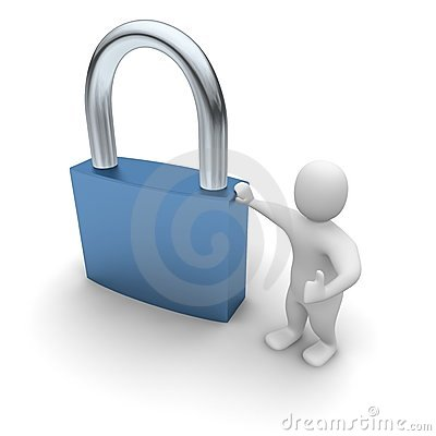 Man lean on padlock