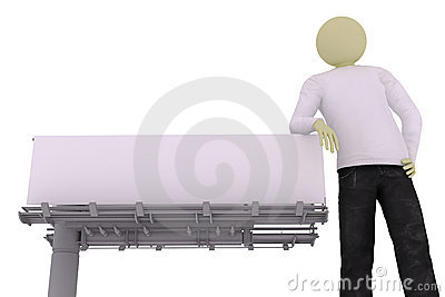 Man lean on street banner