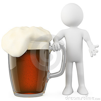 Man leaning on a dark beer