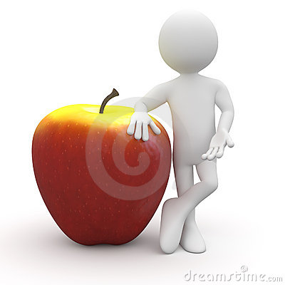 Man leaning on a huge red and yellow apple
