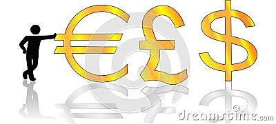 Man Leans on Gold Euro Pound Dollar