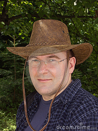 Man in leather hat