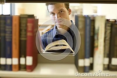 Man at library