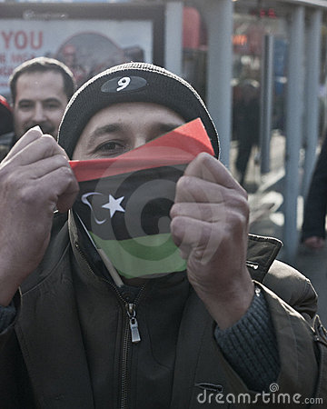 Man with Libyan flag 2 Editorial Photography