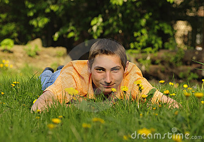 Man lie on the grass