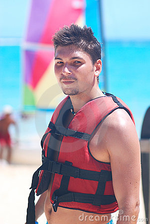 Man in a life jacket