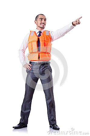 Man in life jacket