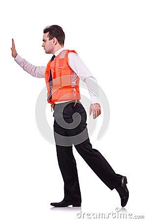 Man in life jacket