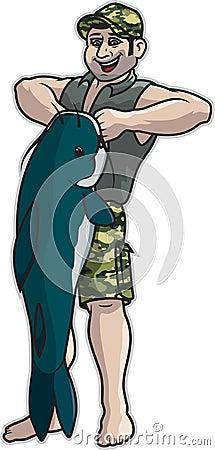 Man Lifting Catfish