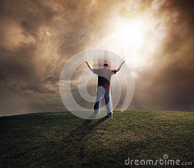 Man lifting up his arms