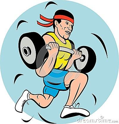 man lifting weights running jog