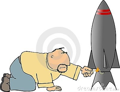 Man lighting a rocket