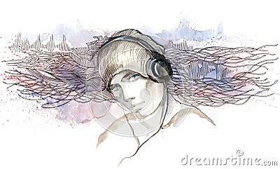 Man listen to music in headphones