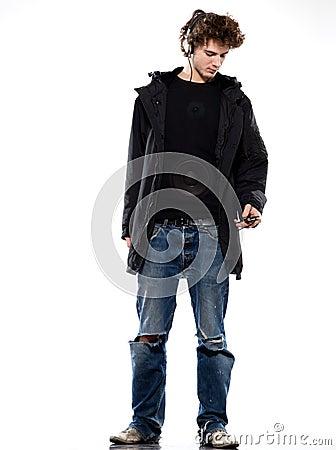 Man listening  music loudspeaker
