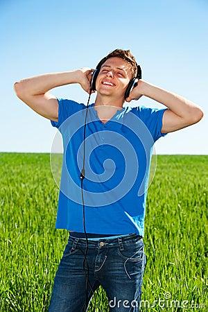 Man listening music with pleasure