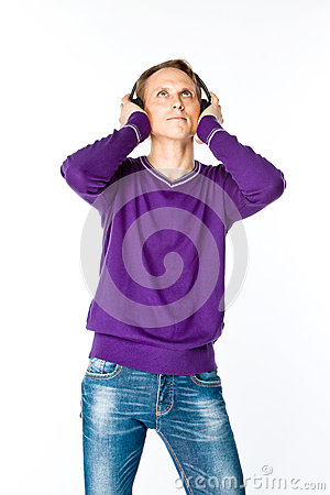 Man listens to music on headphones