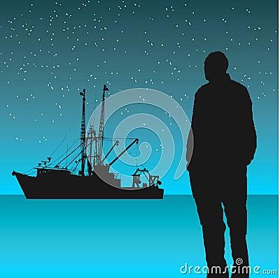 Free Man Looking At Fishing Boat Royalty Free Stock Image - 4842556