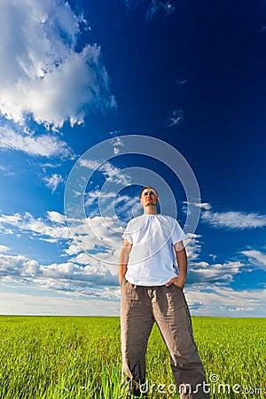 Man looking far away