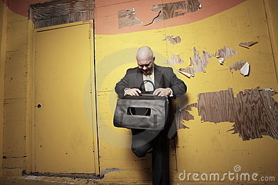 Man looking for files
