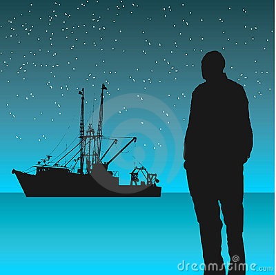 Man looking at fishing boat