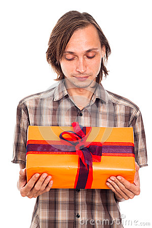 Man looking at gift