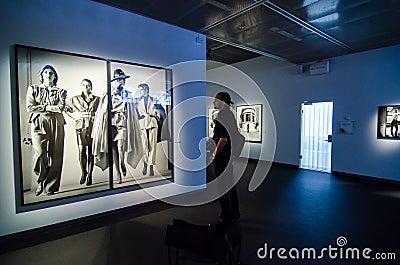 Man looking at Helmut Newton s work  Sie Kommen  Editorial Stock Image