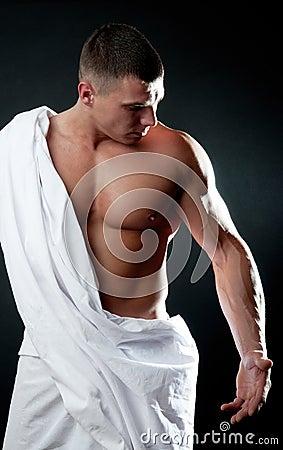 Man looking on his biceps
