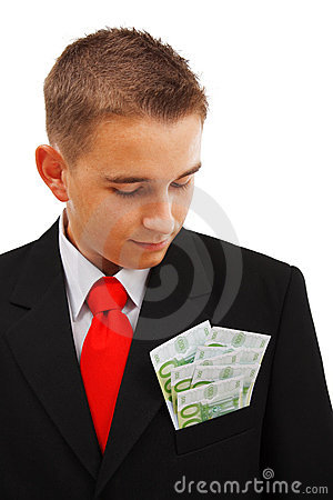 Man looking at money