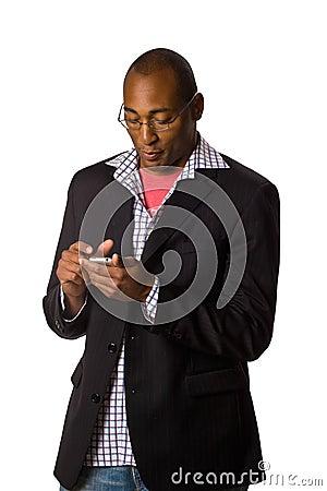 Man looking at PDA