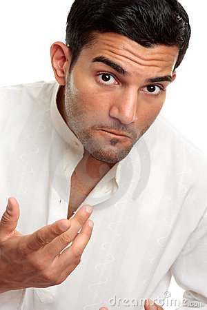Man looking questioning gesturing