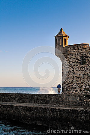Man Looking at Sea from Bateria de Santa Barbara, Tenerife Editorial Stock Photo