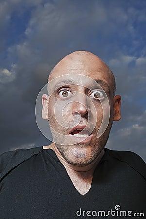 Man looking shocked in fear