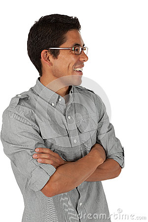 Man looking to the side with folded arms