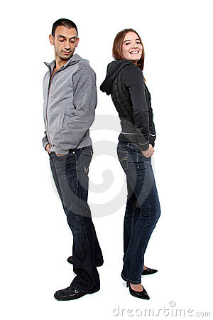 Man looking at woman's bottom