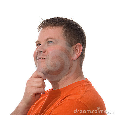 Man Looks Up Isolated on White